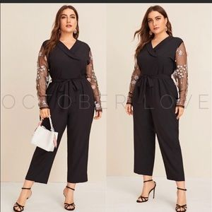 Plus size jumpsuit with sheer floral arms